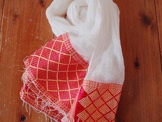 エチオピアの手織りコットンスカーフ/red yellowの画像