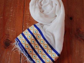 エチオピアの手織りコットンスカーフ/blue yellowの画像