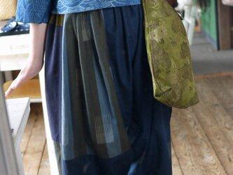 久留米絣のパッチワークサルエルパンツの画像
