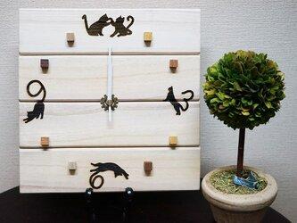猫の時計・にゃんこがいっぱい♡木製【ナチュラルカントリー・アンティーク調】の画像