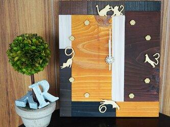 【立体】寄せ木アート・猫の時計の画像