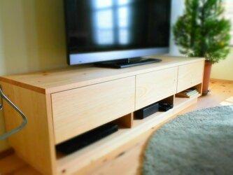 W150cm 国産ヒノキ無垢材を使用したテレビボードの画像