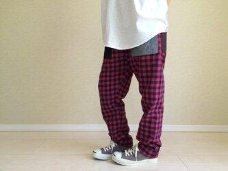 綿麻チェックのゆるパンツ+006(赤と紺)の画像