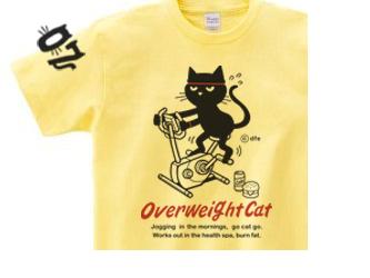 【即納品】フィットネスバイクと猫  Sサイズ(女性M-L相当) Tシャツの画像