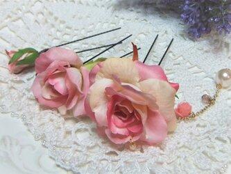 花かんざし(Uピン)スィートローズ チャーム☆*:ピンクの画像