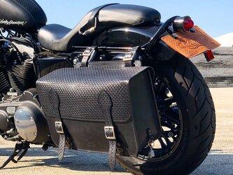 レザーサドルバッグ 大容量18Ⅼ:バイク用 /ベジタブルタンニンレザー・スタンピング *受注製作の画像