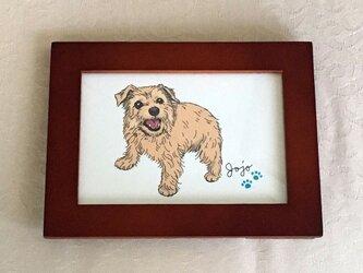 <オーダーメイド>愛犬肖像イラスト(額装)の画像