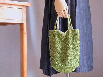 パプコーン編みのワンマイルトート*若草色の画像