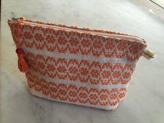 手織りのポーチ オレンジ1の画像