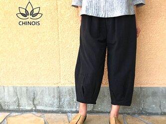 再販3!! XL~3Lサイズ、ジョムトン手織り綿のもんぺパンツ、ブラック、オールシーズンの画像