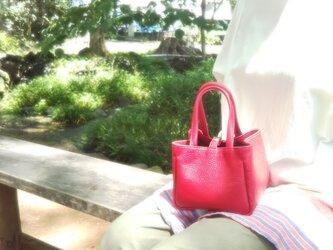 ひざの上にちょこんとのる小さなバッグ(赤)12色から選んで作れます*受注製作*の画像