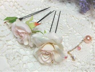 花かんざし(Uピン)スィートローズ チャーム☆*:ベビーピンクの画像