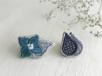 紫陽花&しずく刺繍ピンブローチ(ラペルピン)2個セット【受注生産】の画像