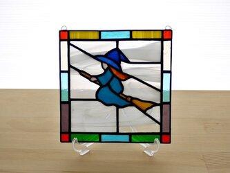 ステンドグラス ミニパネル 魔女 15cmの画像