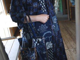 古布&久留米絣襟と袖口フリルワンピースの画像
