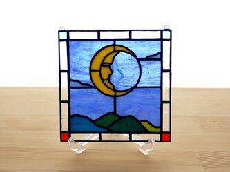 ステンドグラス ミニパネル 月 15cmの画像
