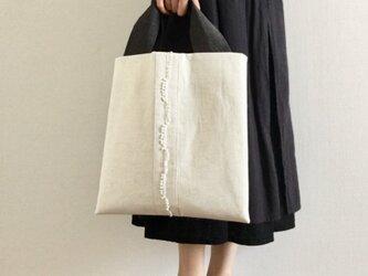 再販 [リネン/麻] 夏のシンプル トートバッグ アイボリーの画像