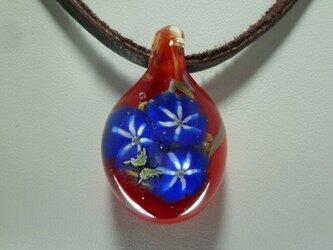 朝顔と蝶NO.1(ガラス、花、ペンダント)の画像