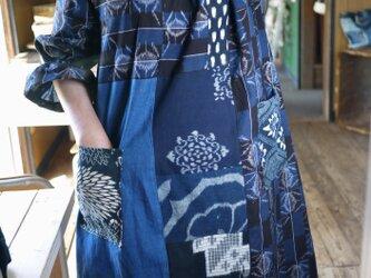 追加確認画像 古布&久留米絣襟と袖口フリルワンピースの画像