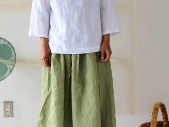 "long gathering skirt*リトアニアリネン""leaf green"" 【受注生産品】の画像"