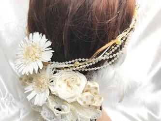 【女神様フラワーヘッドドレス/ガーベラとローズローズのプリザーブドフラワー/ウェディング】の画像
