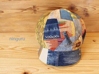 手織り×デニムのパッチワーク・キャスケットの画像