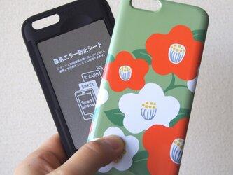 和な雰囲気の椿のICカード収納iPHONEケース(当店デザイン全対応)の画像