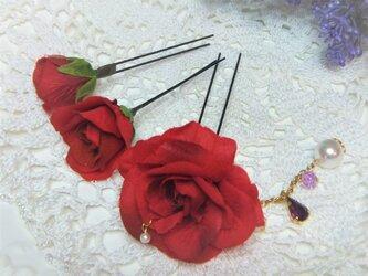 花かんざし(Uピン)スィートローズ チャーム☆*:レッドの画像