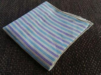 リネンのストライプはんかち(ブルー×パープル)の画像