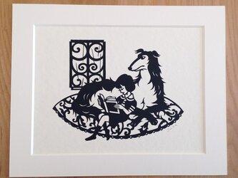 犬の切り絵「雨の時間」◆ボルゾイの画像