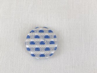 こぎん刺しのブローチ〈富士山×青色〉2.9cmの画像