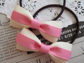 ★りぼん★ ピンクとアイボリーのリボンのヘアゴムの画像