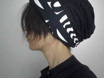 ターバンな帽子 黒ノルディック 送料無料の画像