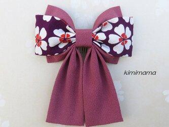 髪飾り 縮緬 Wリボンはいからさん(桜&あずき)着物・袴・浴衣・卒業式      の画像