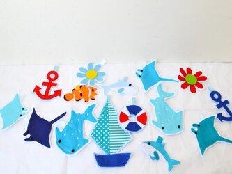 送料無料★大人気★マンタ・ジンベイザメ・イルカ・クマノミの海ガーランドスペシャルバージョンの画像