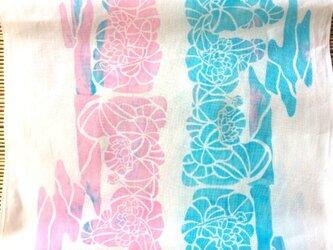手捺染 型染め 手ぬぐい「蓮の花」の画像