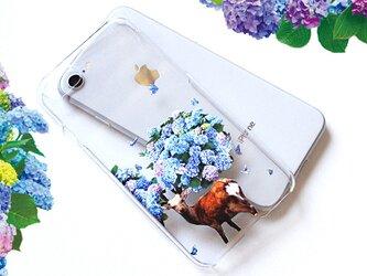ホログラムver 鹿紫陽花 プリントケース iPhone8 iPhoneケース各種 スマホカバーの画像