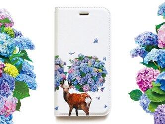 ★手帳型ケース★鹿紫陽花 iPhoneX〜選択可能 iPhoneケースの画像