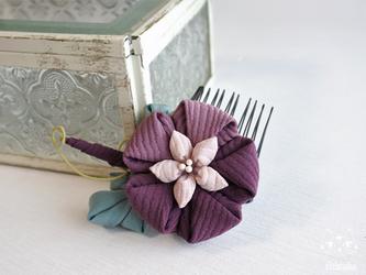 朝顔☆つまみ細工 紫 ミニコーム  浴衣・アサガオ・髪飾り・和装小物の画像