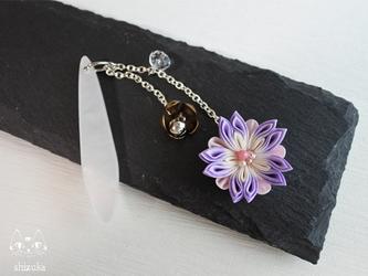万華鏡❖つまみ細工 帯飾り 薄紫 着物・浴衣・和装小物・和アクセサリーの画像