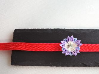 万華鏡❖つまみ細工 帯留め 薄紫&水色 着物・浴衣・結婚式・帯飾りの画像