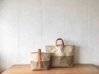 【受注製作】ヌメ革とロウ引き帆布の親子鞄の画像