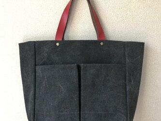 《Sサイズ黒》レザー×帆布トートバッグの画像