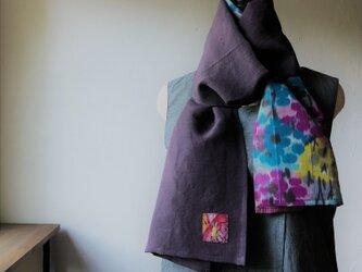 銘仙と播州織のスカーフ828 ストール 麻 リネン コットンの画像