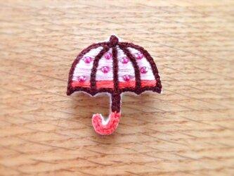 〈受注制作〉キラキラ傘のブローチ(pink)の画像