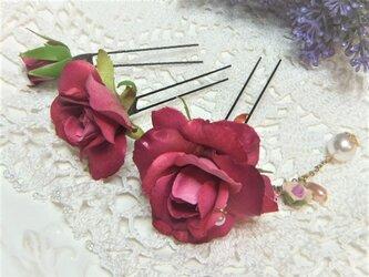 花かんざし(Uピン)スィートローズ チャーム☆*:フュッシャピンクの画像