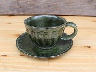 深緑の器 カップとソーサ[18May-27]《釉薬》の画像