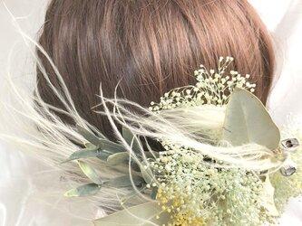 【かすみ草とフェザーグラスとユーカリのプリザーブドフラワー/ヘッドドレスアクセサリー】の画像