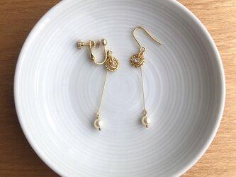 gold earring/pierce【pearl】の画像