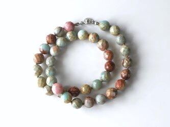 空と土の色のネックレス /1cm玉 No.1, インプレッションストーン, 天然石の画像
